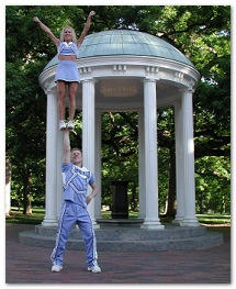 Image of Dr. Landau as a cheerleader at UNC Chapel Hill